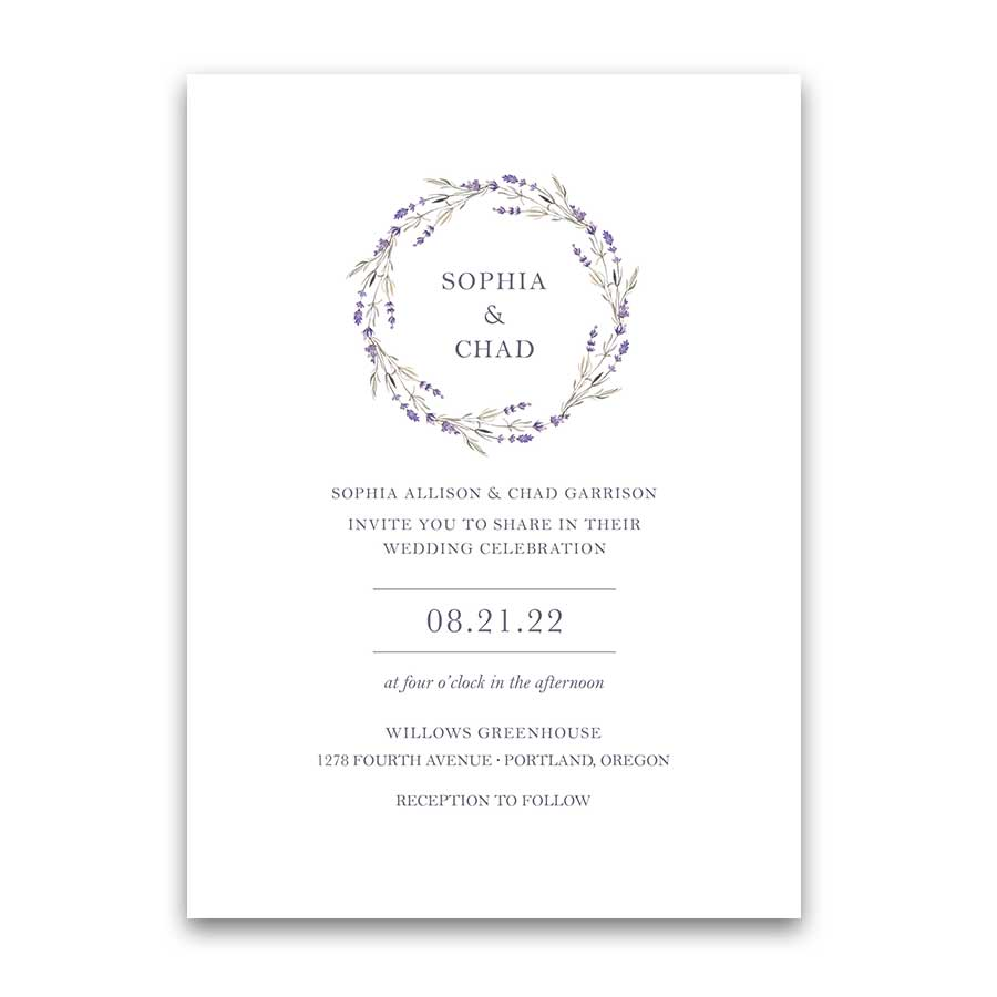 Lavender Wedding Invitations Wreath of Lavender Modern
