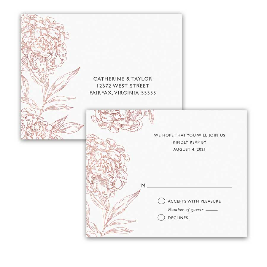 Floral Wedding Rose Gold Copper Sketched RSVP Postcards