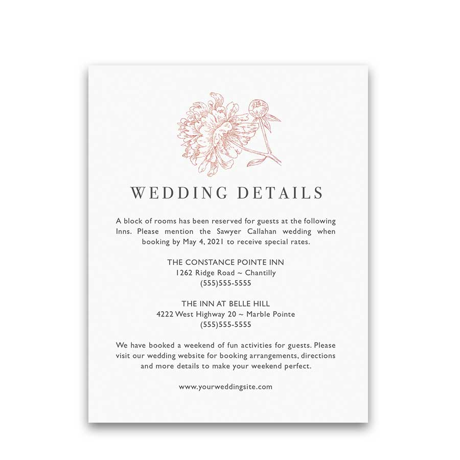 Floral Wedding Rose Gold Copper Guest Information Card