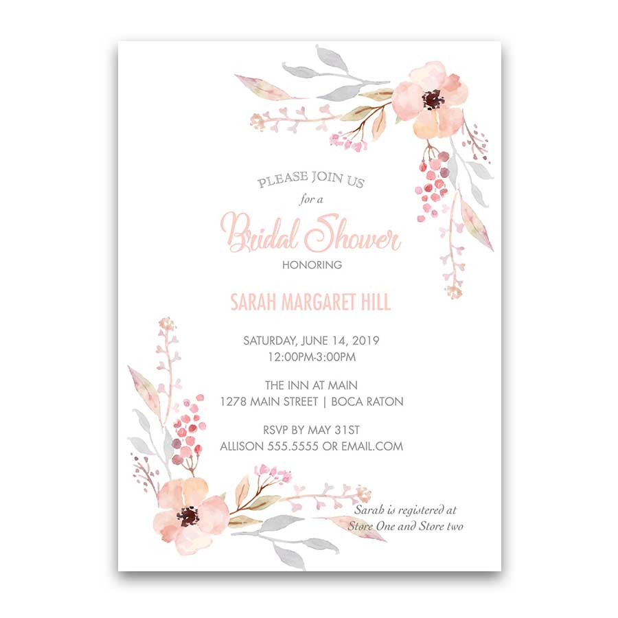 Wedding Shower Invitations Blush Watercolor Florals