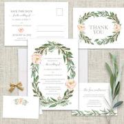 Floral wreath watercolor wedding invitations