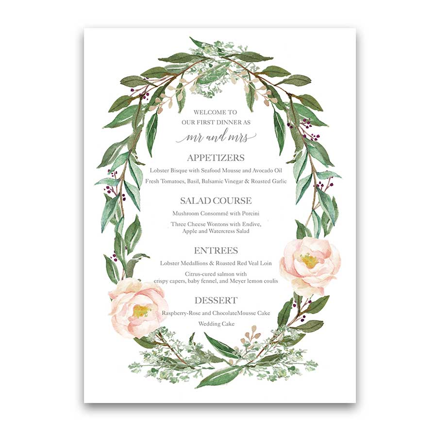 Custom Wedding Menu Watercolor Greenery Wreath