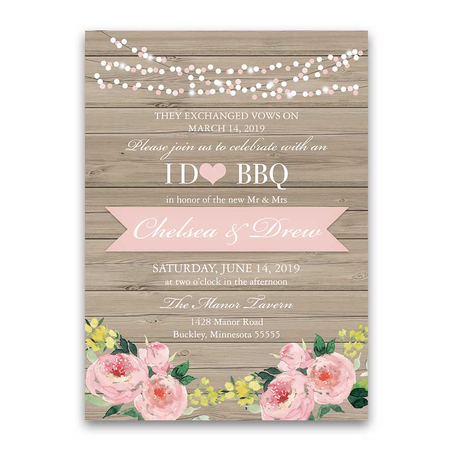 i do bbq wedding reception only invitation blush floral