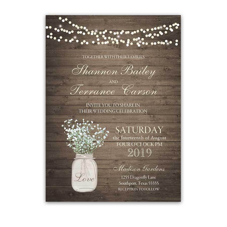 Rustic Mason Jar Wedding Invitation With Babys Breath