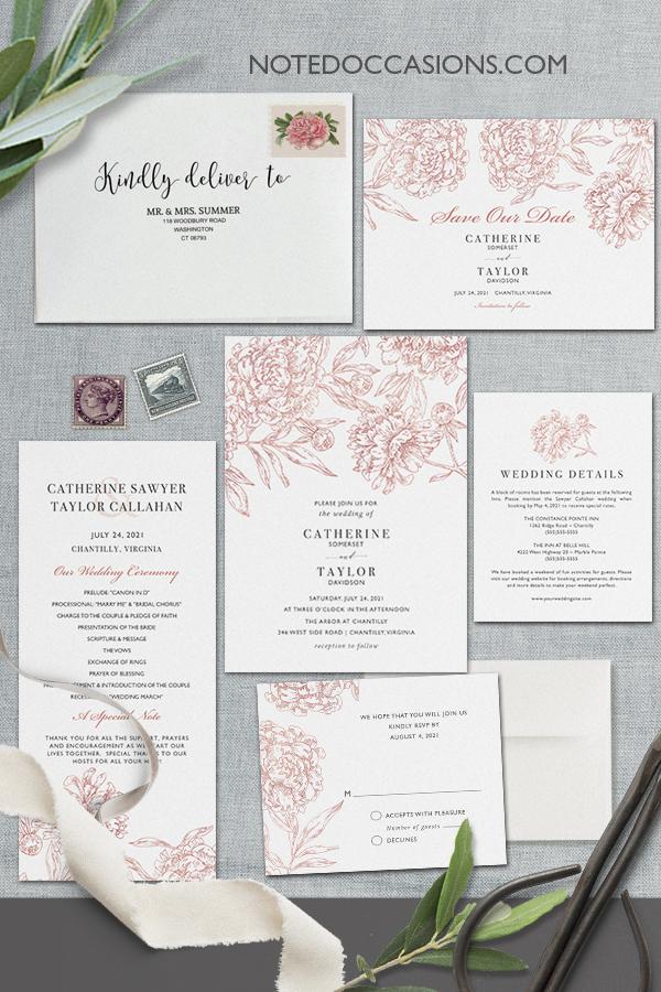 Floral Wedding Invitations Vintage Garden Theme