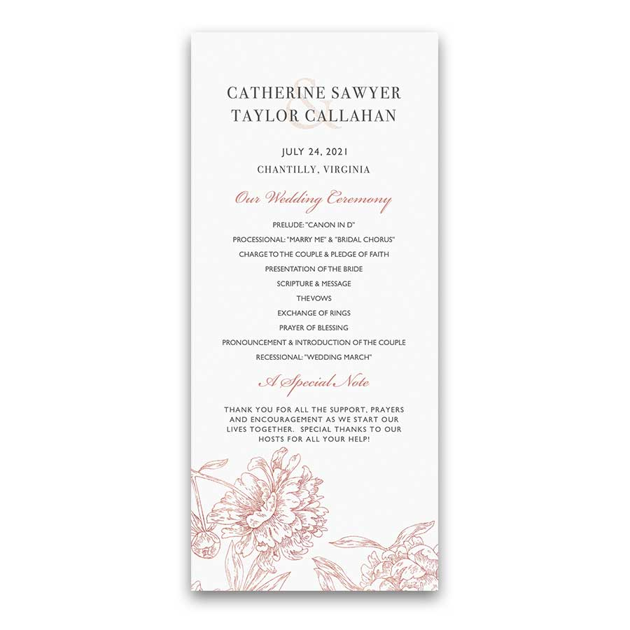 Custom Wedding Ceremony Program Rose Gold Sketched Florals