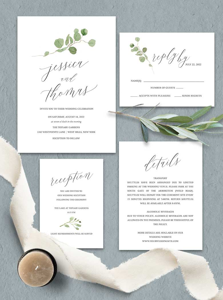 Greenery Wedding Invitations Eucalyptus Branches Calligraphy