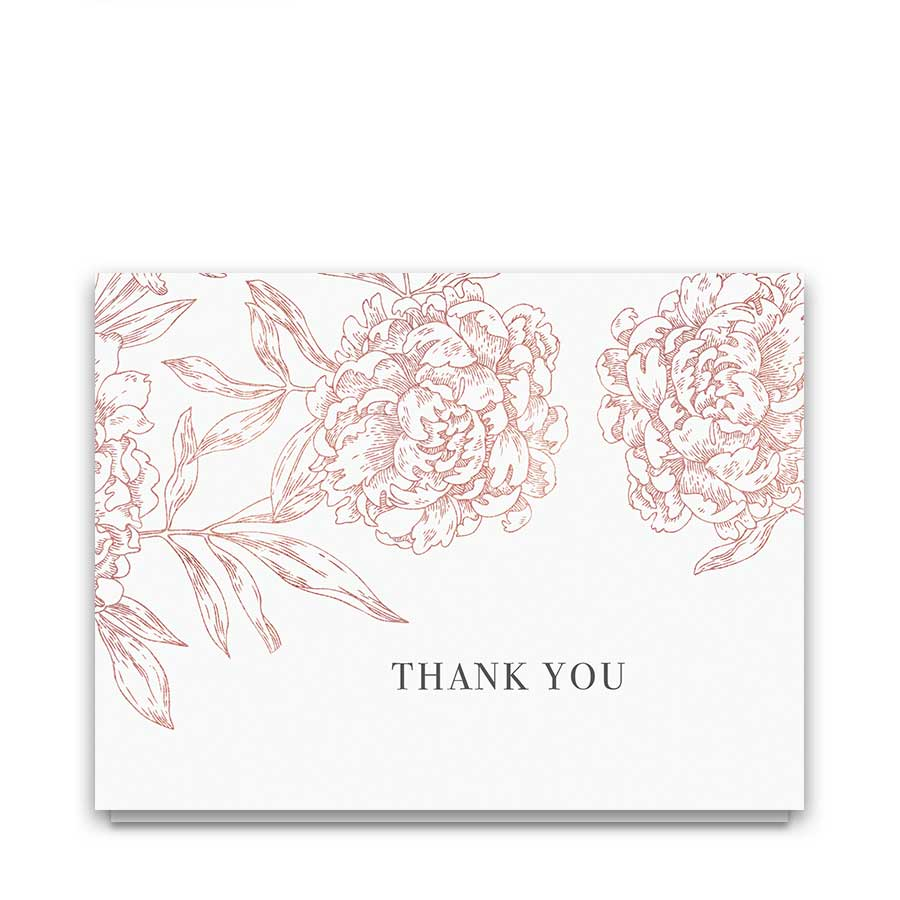 Floral Thank You Cards Vintage Blush Garden Wedding Design