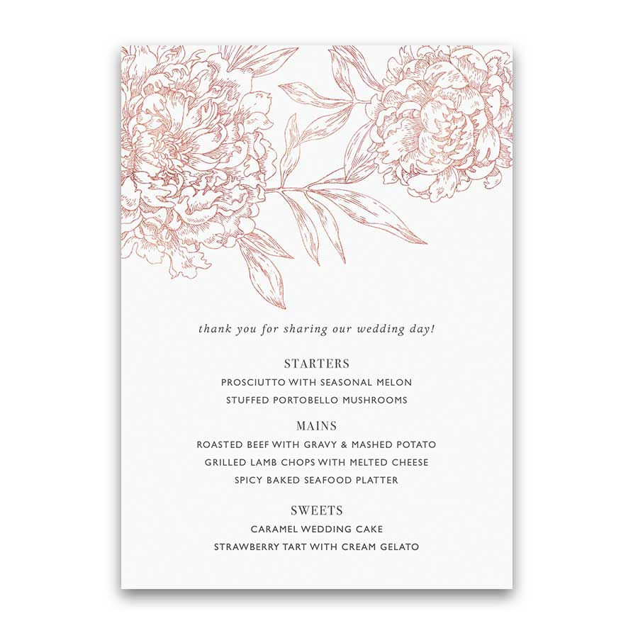 Blush Floral Wedding Menu Vintage Garden Botanical Flowers