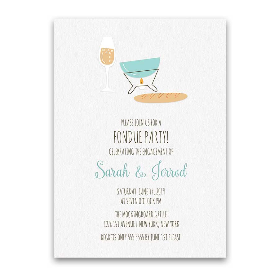 Fondue Engagement Party Invitation Couple's Shower