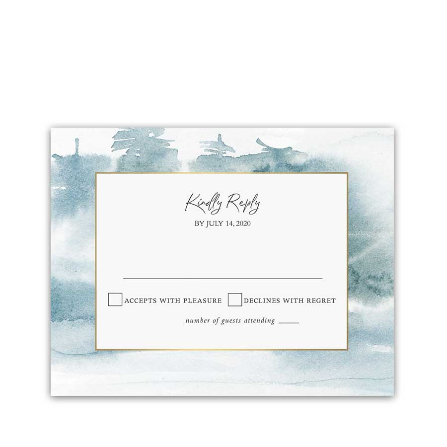 Wedding RSVP Cards Forest Watercolor Woodsy Reply Card Trees