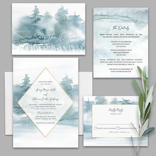 Geometric Frame Wedding Invitation Forest Tree