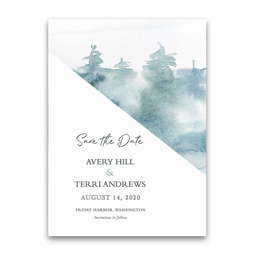 Forest Wedding Save the Date Cards Modern Woodsy Watercolor Trees