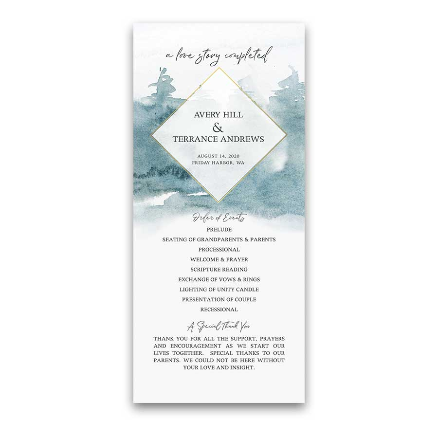 Wedding Program Geometric Frame Forest Tree Watercolor Set