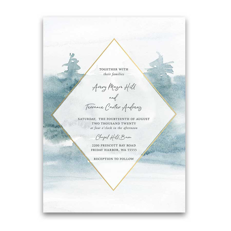 Geometric Frame Wedding Invitations Forest Tree