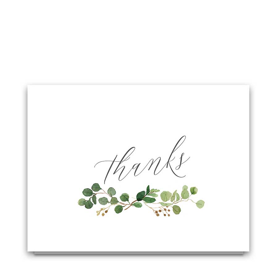 Eucalyptus Wedding Thank You Cards Watercolor Florals