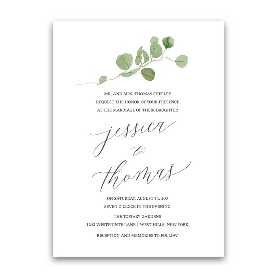 Greenery Wedding Invitations Calligraphy Script Eucalyptus