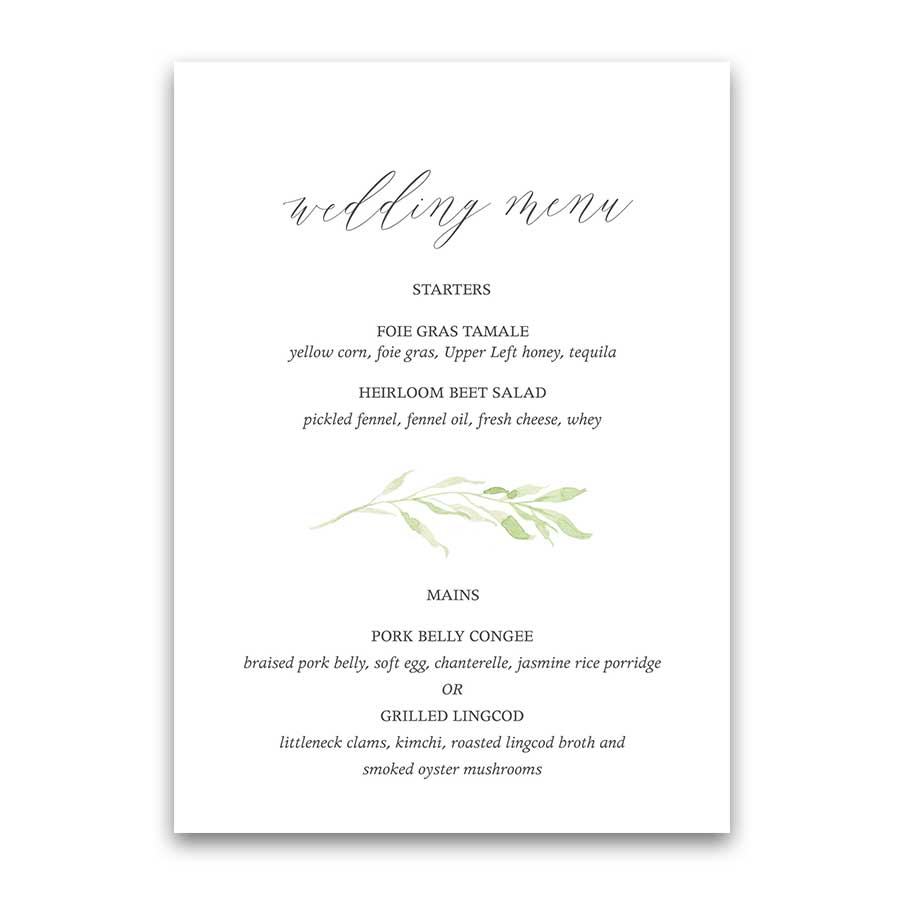 Custom Wedding Menu Watercolor Greenery Garland