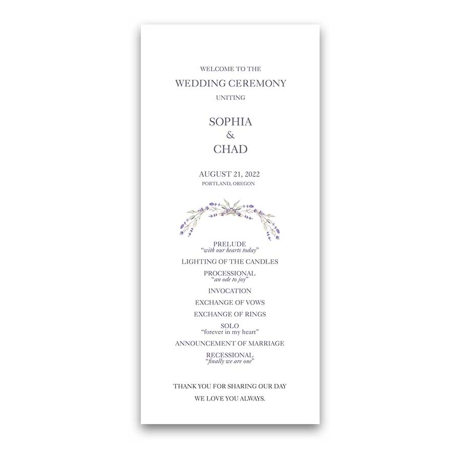 Lavender Wedding Program Template Featuring Lavender Sprigs