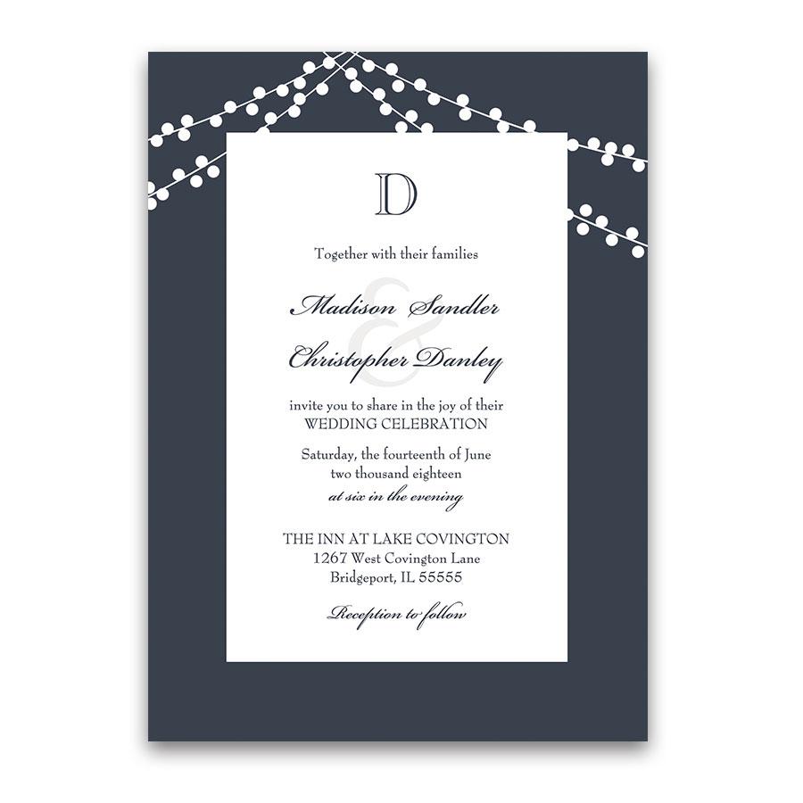 Monogram Navy Blue Wedding Invitations Rustic String Lights