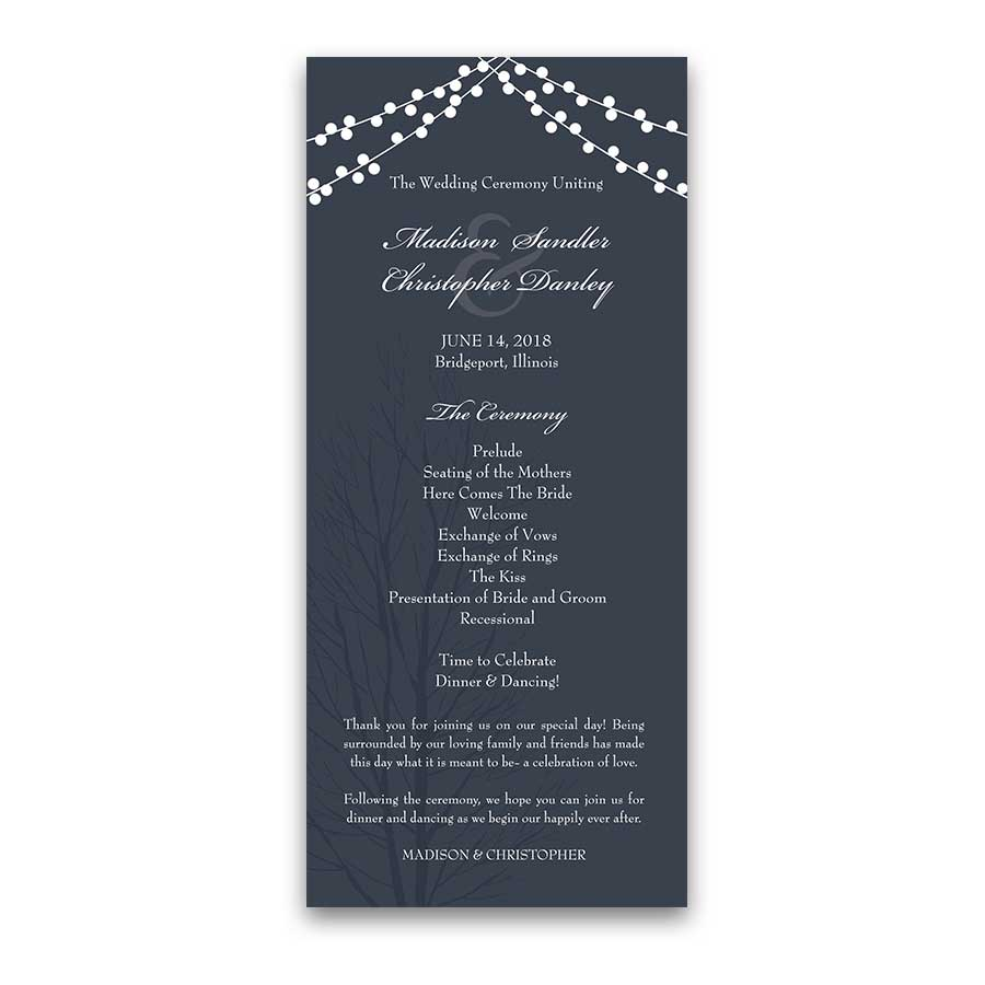 Monogram Navy Blue Wedding Invitations with Rustic String Lights