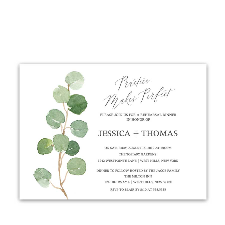 Rehearsal Dinner Invitations Eucalyptus Wedding Calligraphy Script Invites