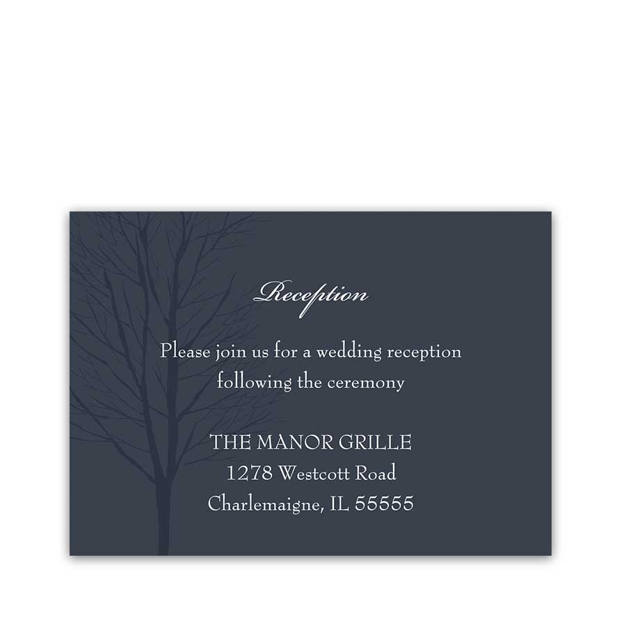 navy blue wedding reception details cards - Wedding Reception Invites