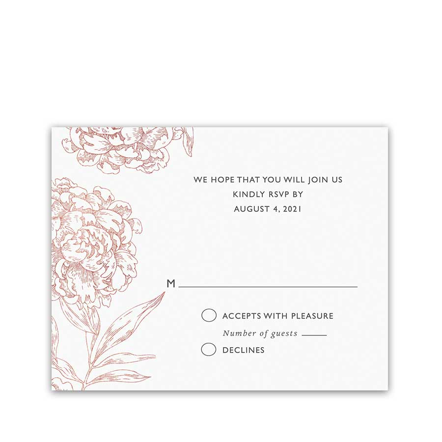 Floral Wedding Rose Gold Copper Sketched RSVP Reply Cards