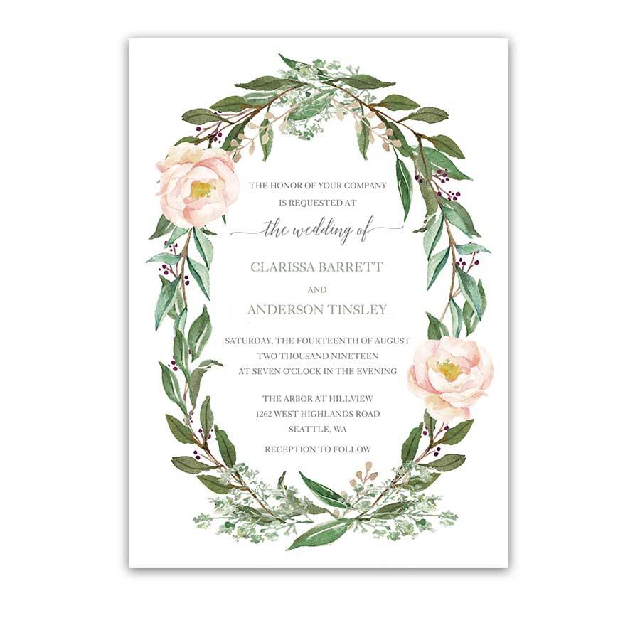 Floral Wedding Invitations Watercolor Greenery Wreath Blush