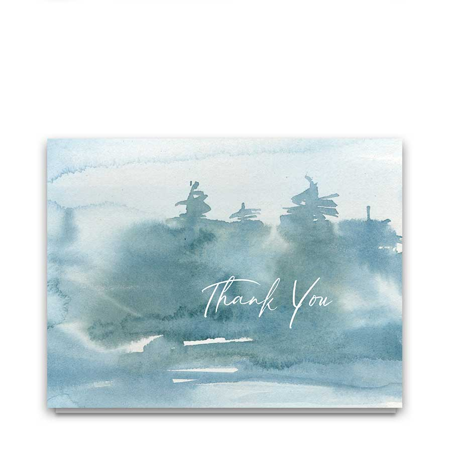 Wedding Thank You Cards Forest Watercolor Modern Script
