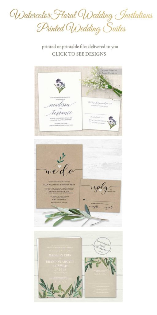 2019 Wedding Trends Watercolor Floral Wedding Invitations