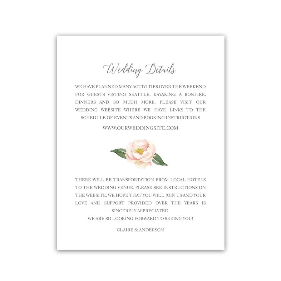 Wedding Guest Information Enclosure Card Blush Pink