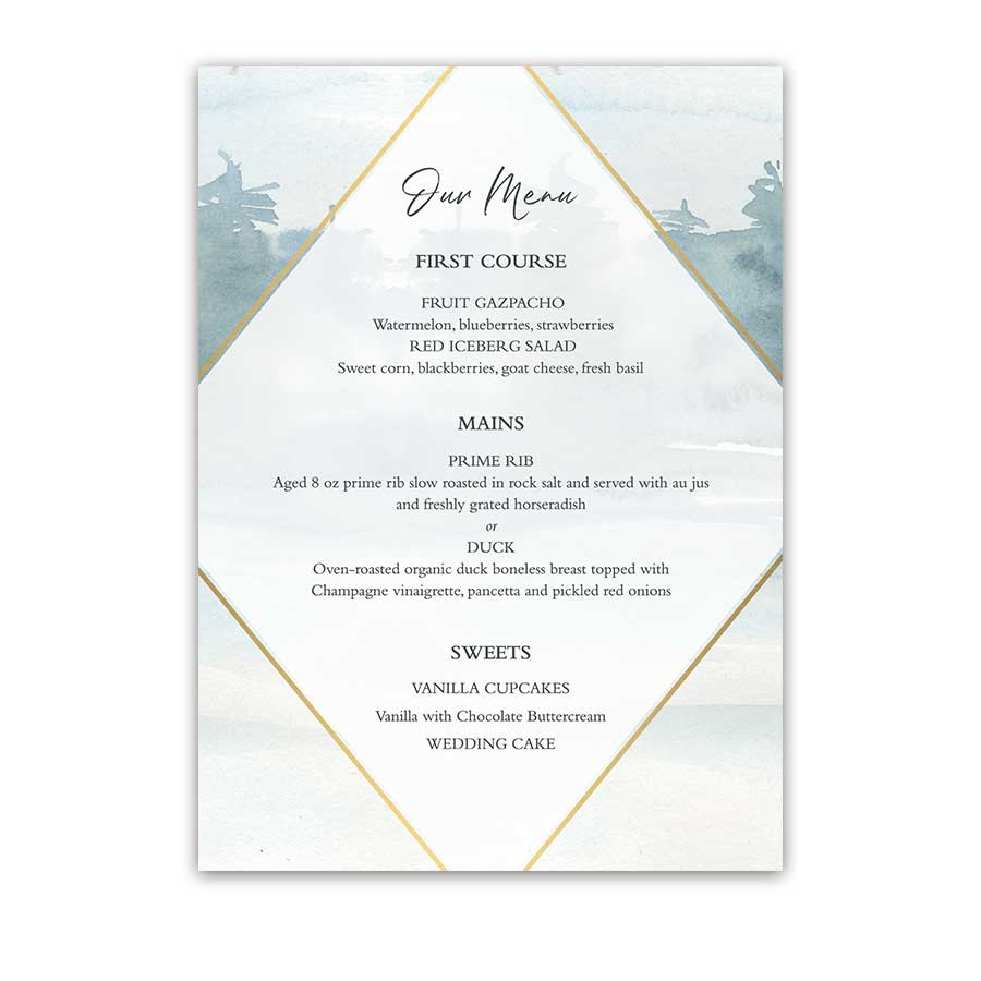 Geometric Frame Wedding Menu Forest Tree Watercolor