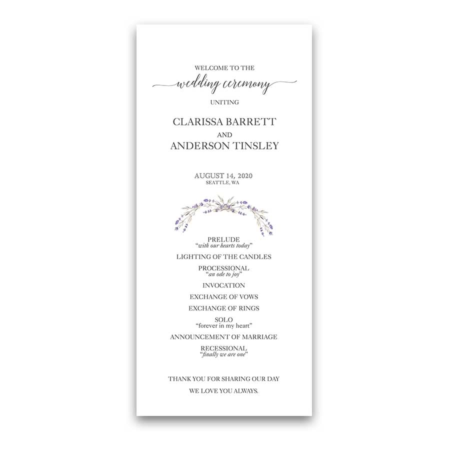 Wedding Program Template Featuring Lavender Greenery Wreath