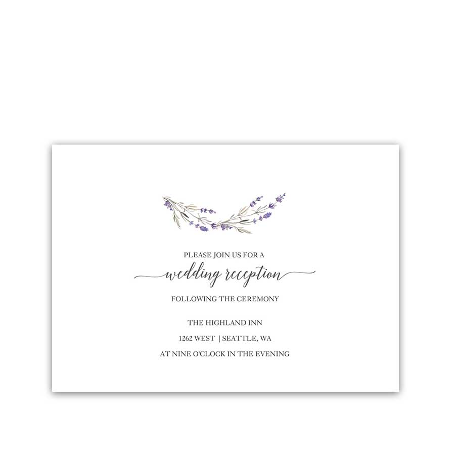 Watercolor Lavender Wedding Reception Details Cards