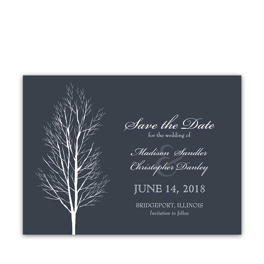 Save the Date Cards Navy Blue Rustic Chic Wedding