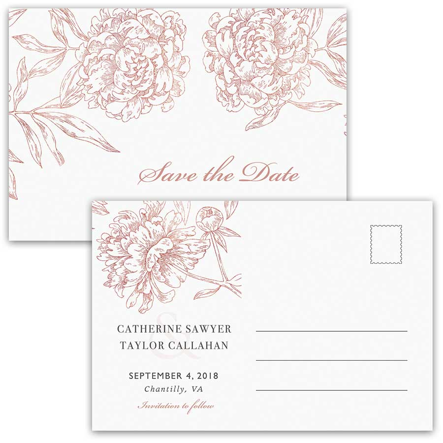 Save the Date Postcards Vintage Garden Wedding Floral Rose