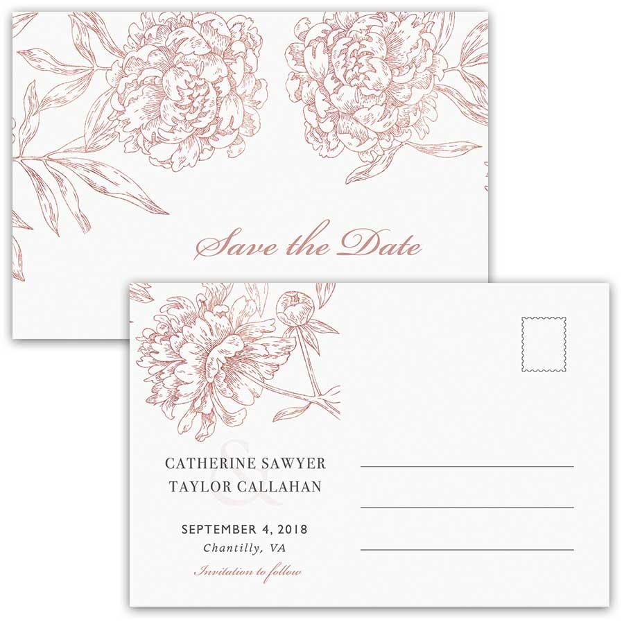 Save the Date Postcards Vintage Garden Wedding Floral Rose