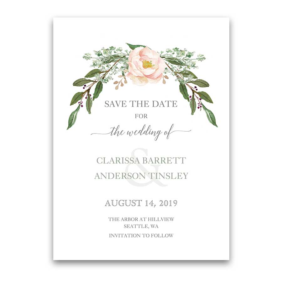 Save On Wedding Flowers: Floral Wedding Invitations Greenery Blush Flower Wreath