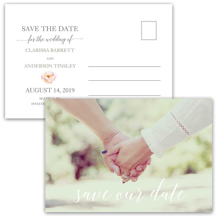 Save the Date Postcards Photo Watercolor Blush Floral