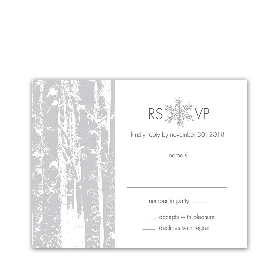 Winter Wonderland Wedding RSVP Reply Cards Trees
