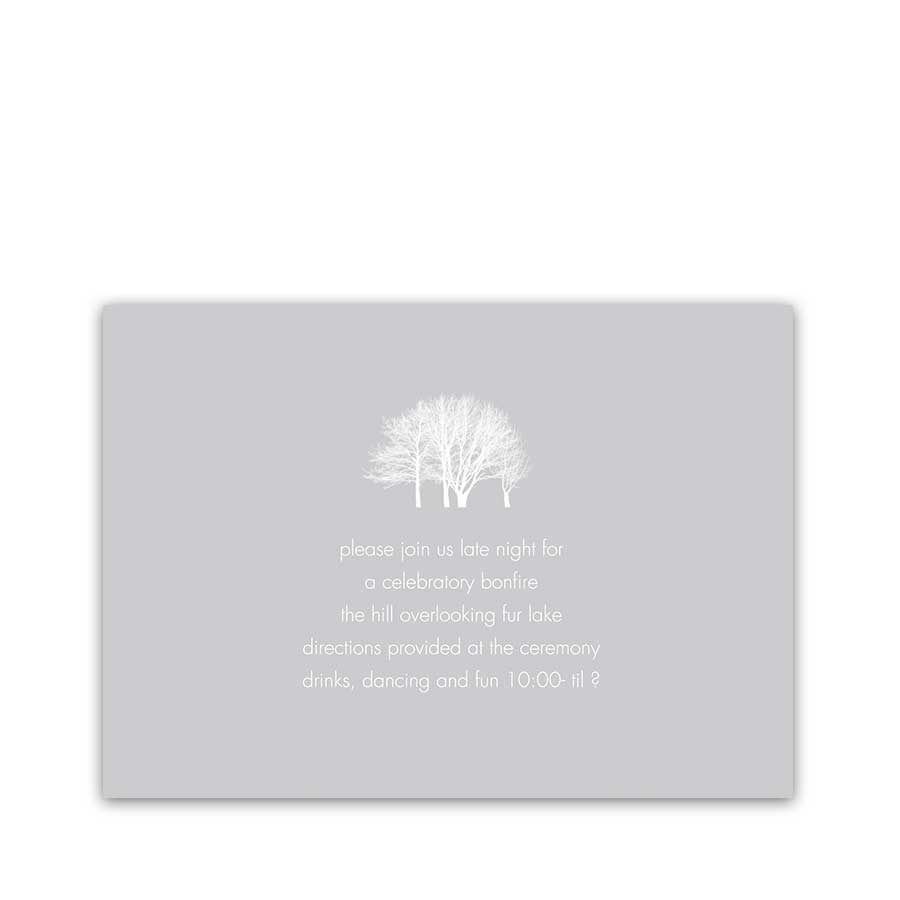 Wedding Reception Details Insert Cards Winter Trees
