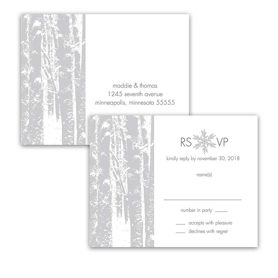 Winter Wonderland Wedding RSVP Postcards Trees