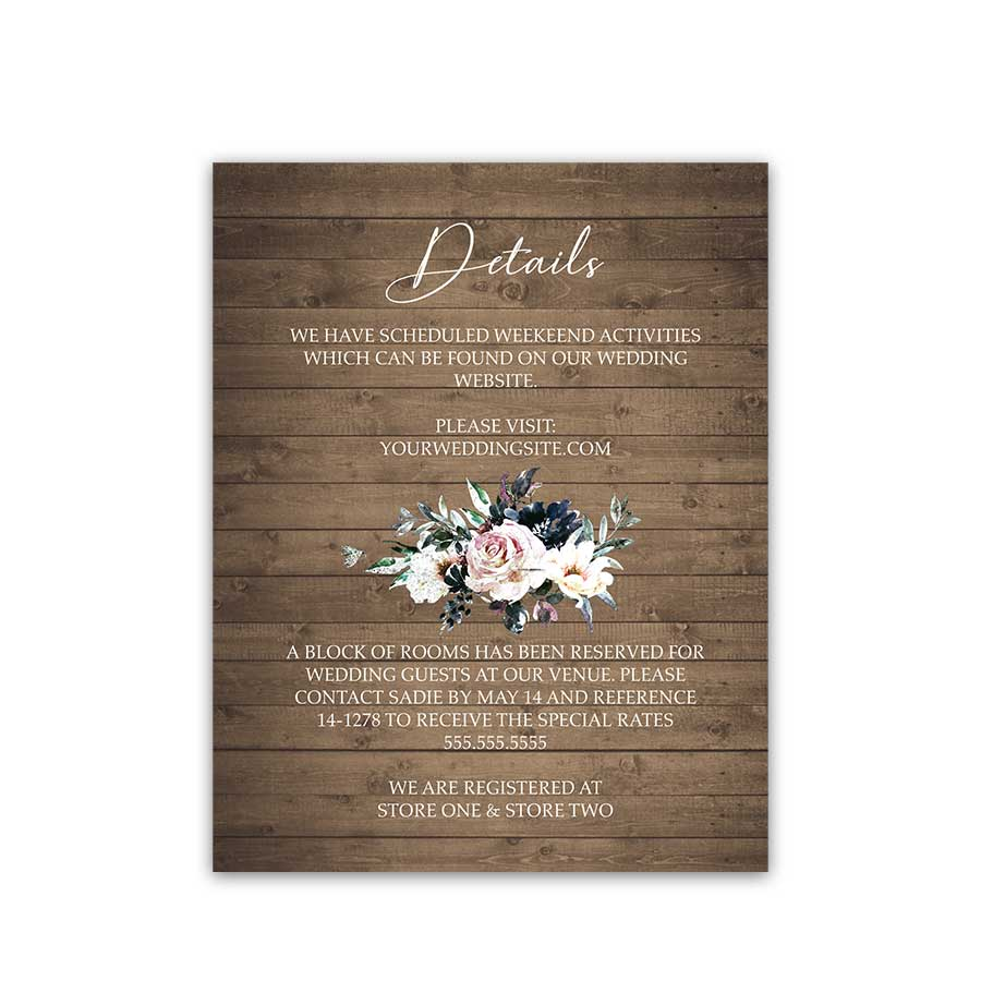 Guest Information Cards for Weddings