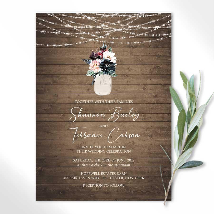 Rustic Wedding Invitations Watercolor Floral