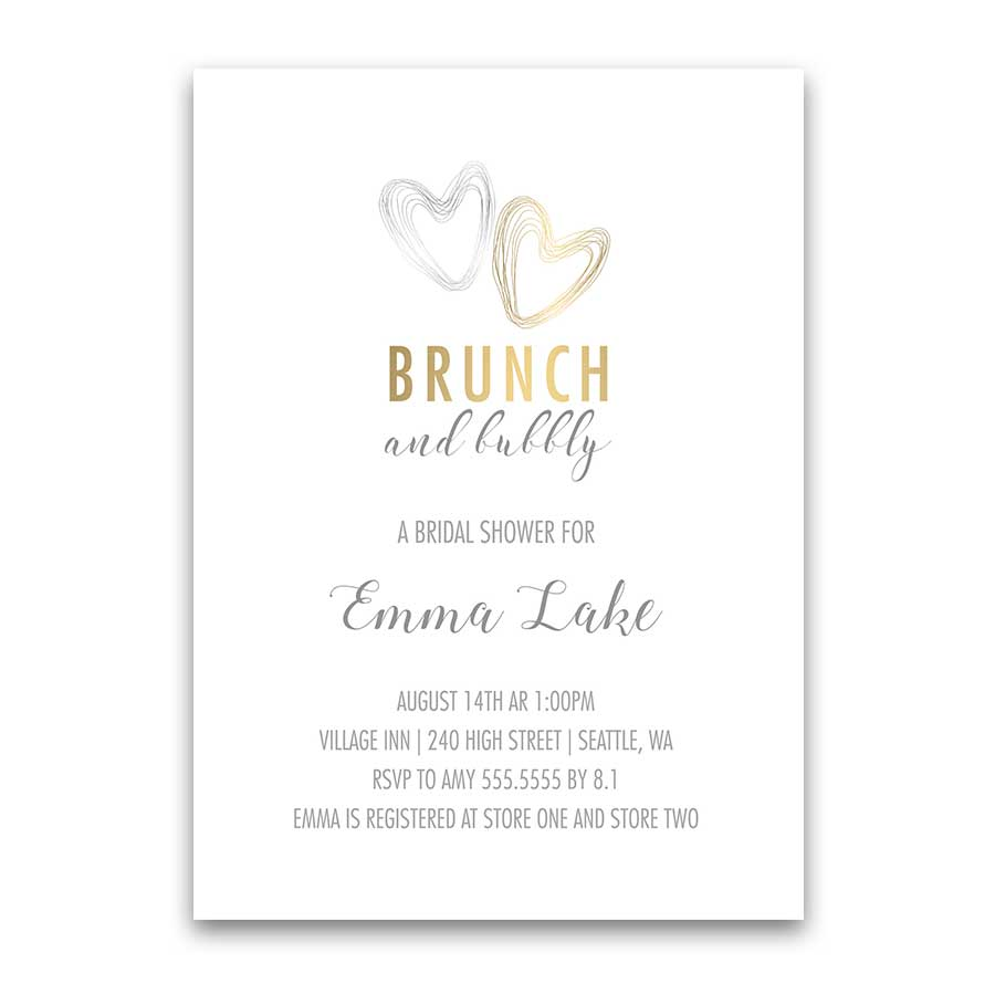 Brunch and Bubbly Wedding Shower Invitations Silver Gold