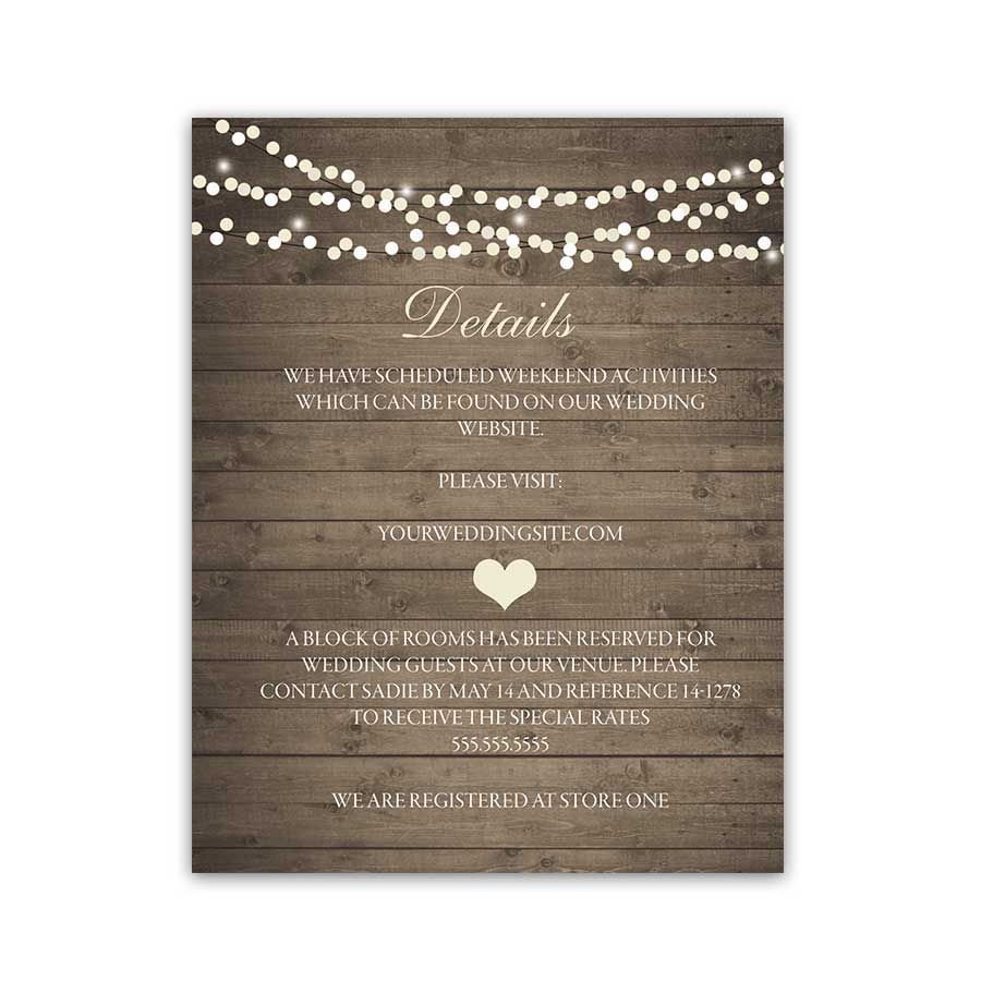 Rustic Mason Jar Wedding Guest Information Cards