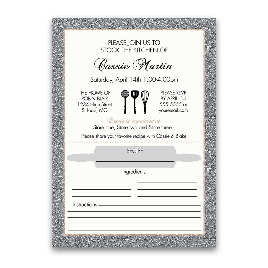 Stock the Kitchen Wedding Shower Bridal Invitations Silver