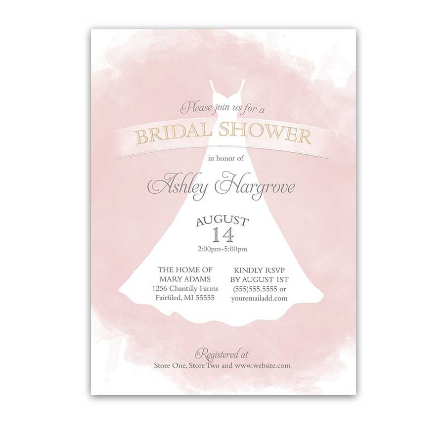 Bridal shower invitations blush gold wedding dress watercolor for Invitations for wedding shower