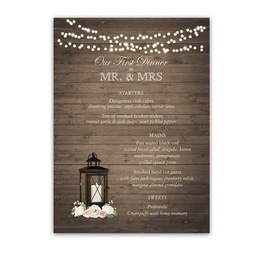Custom Wedding Menu Lantern Barn Wood and String Lights